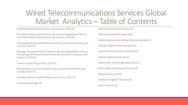 Wired Telecommunications Services Global Market Analytics 2016