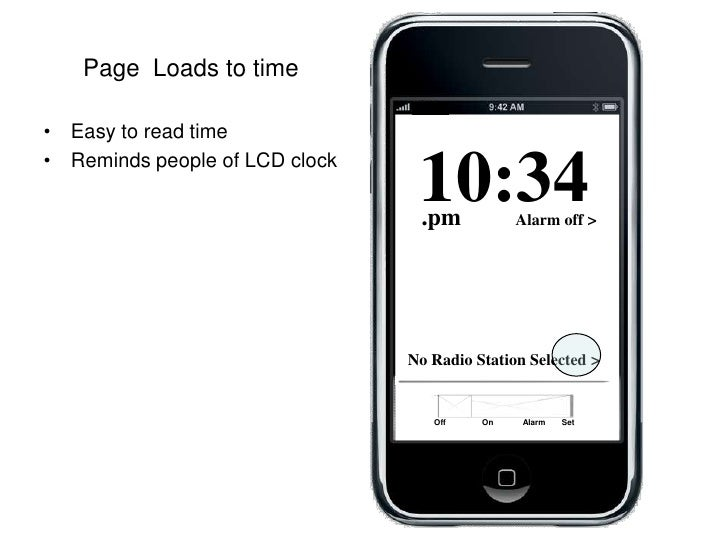 Page  Loads to time<br />Off                On             Alarm       Set<br />Easy to read time<br />Reminds people of L...