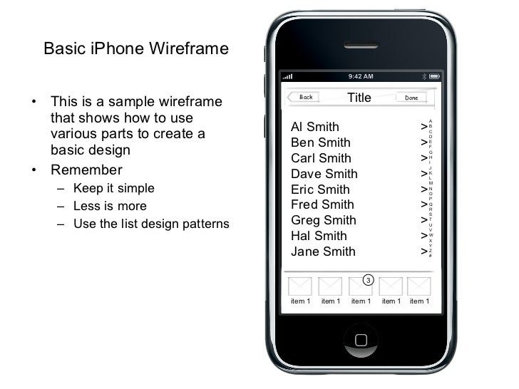 Basic iPhone Wireframe <ul><li>This is a sample wireframe that shows how to use various parts to create a basic design </l...