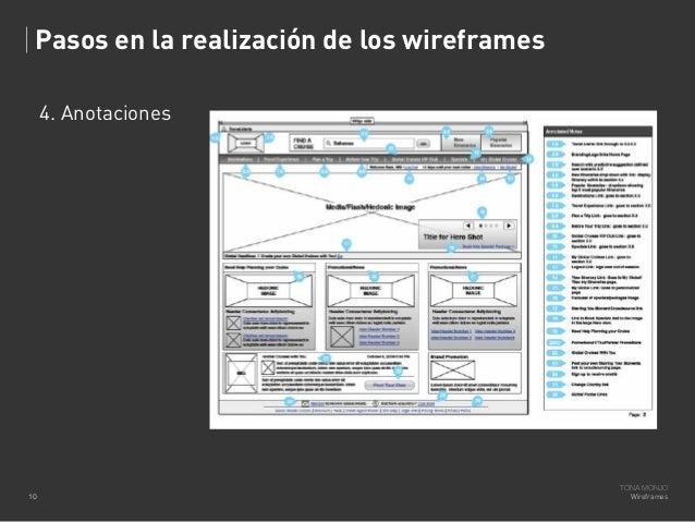 Pasos en la realización de los wireframes 4. Anotaciones  10  TONA MONJO Wireframes