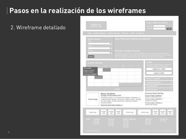 Pasos en la realización de los wireframes 2. Wireframe detallado  8  TONA MONJO Wireframes