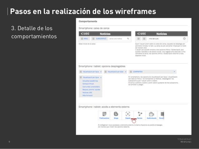 Pasos en la realización de los wireframes 3. Detalle de los comportamientos  9  TONA MONJO Wireframes