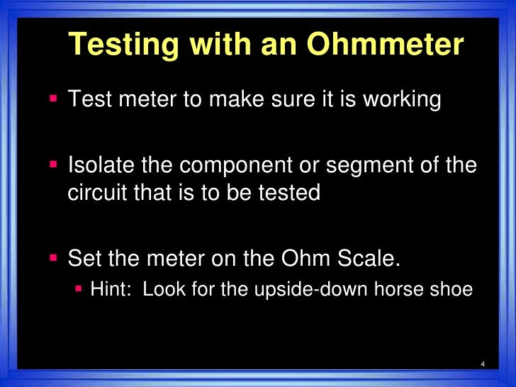 testing harness wire with ohmmeter wiring circuit \u2022 ford 7 wire trailer plug harness wire harness test simple rh slideshare net continuity tester harness trailer wiring test with multimeter