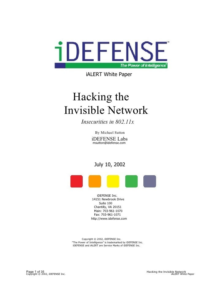 iALERT White Paper                                   Hacking the                              Invisible Network           ...