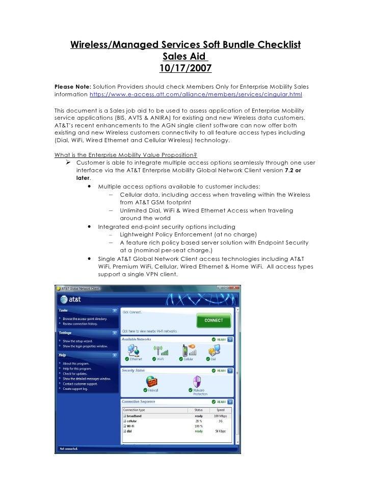 Wireless/Managed Services Soft Bundle Checklist                      Sales Aid                     10/17/2007Please Note: ...
