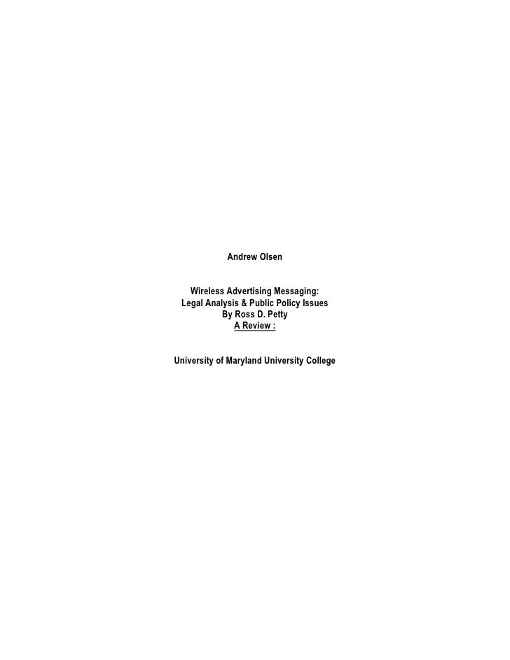 Andrew Olsen   Wireless Advertising Messaging: Legal Analysis & Public Policy Issues           By Ross D. Petty           ...