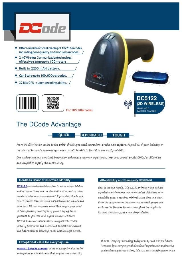 Wireless barcode scanner dc5122