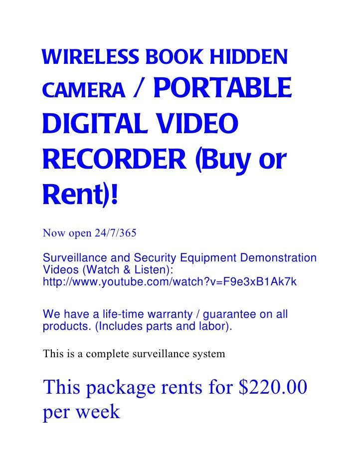 WIRELESS BOOK HIDDENCAMERA / PORTABLEDIGITAL VIDEORECORDER (Buy orRent)!Now open 24/7/365Surveillance and Security Equipme...