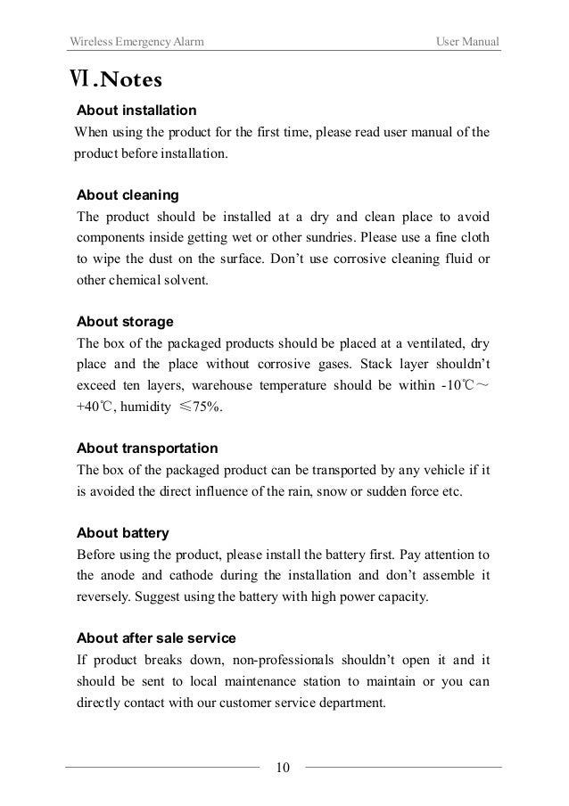 Wireless Emergency Alarm User Manual  Ⅶ.Product Specification  Communication Mode IEEE802.15.4(ZigBee)  Communication Dist...