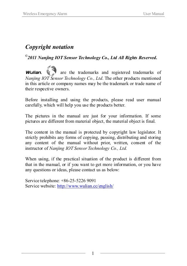 Wireless Emergency Alarm User Manual  Ⅰ. Product Introduction  WL-IB-A Wireless Emergency Alarm has emergency alarm trigge...