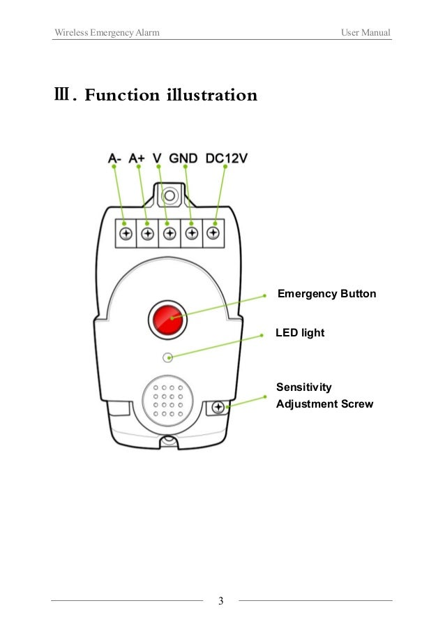 Wireless Emergency Alarm User Manual  Ⅳ.Installation Steps  1. The product can be carried directly for using.  2. The prod...
