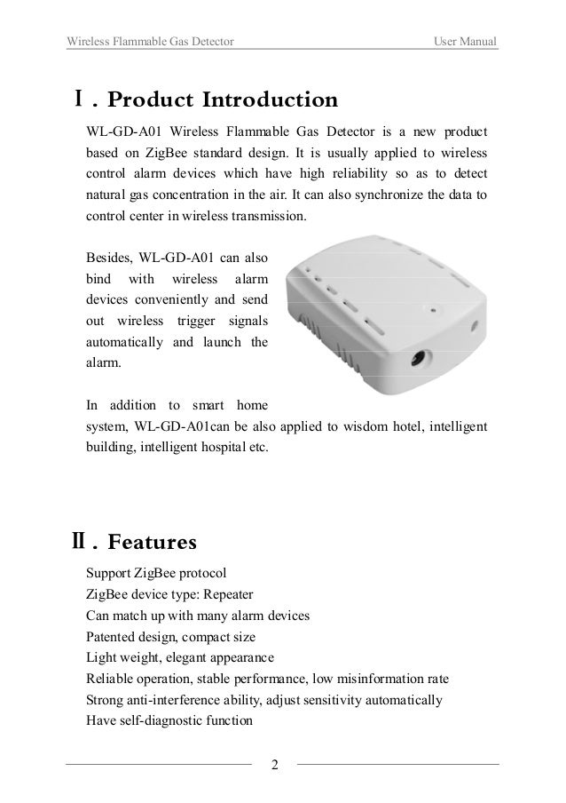 Wireless Flammable Gas Detector User Manual  Ⅲ.Function illustration  3  Multi-function key  Base  Main Body  LED indicato...