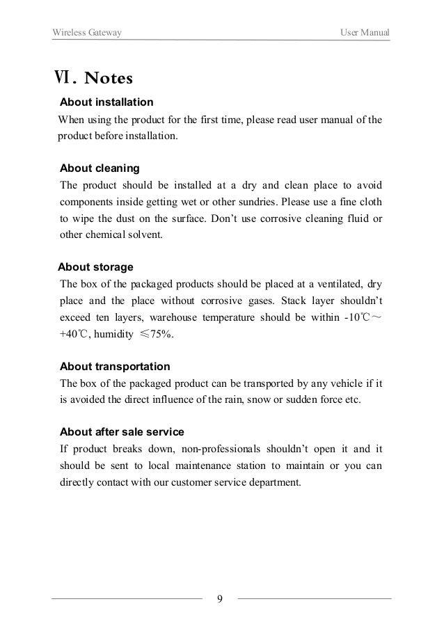 Wireless Gateway User Manual  Ⅵ. Product Specification  Communication Mode IEEE802.15.4(ZigBee)  Communication Distance 50...