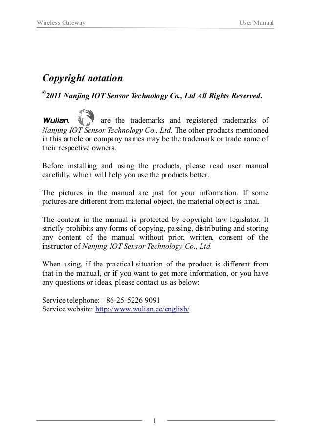 Wireless Gateway User Manual  Ⅰ. Product Introduction  WL-GW-A Wireless Gateway is a communication device based on  ZigBee...