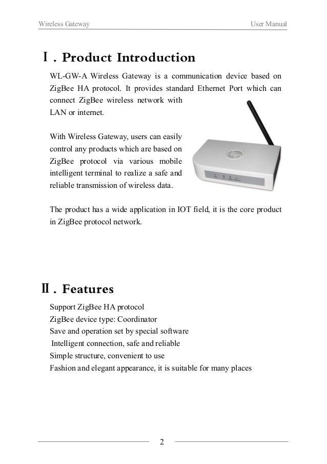Wireless Gateway User Manual  Ⅲ. Function illustration  Power Indicator light WAN/LAN Light  SYS Set Indicator Light ZigBe...