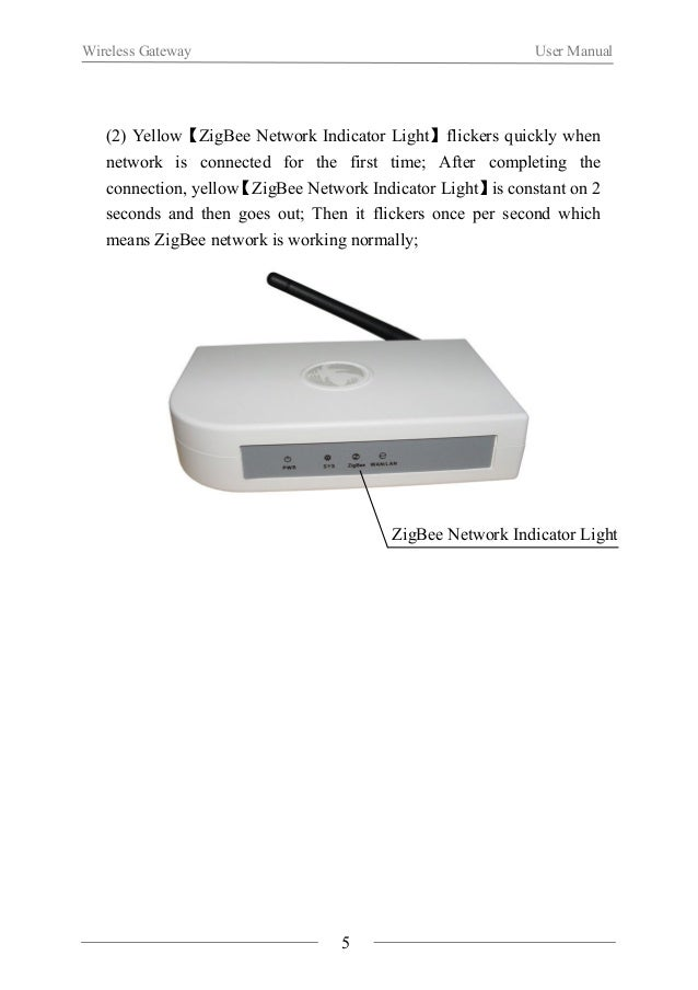 Wireless Gateway User Manual  (3) Quickly click【SET Key】four times, green【SYS Set Indicator  Light】is constant on, it mean...