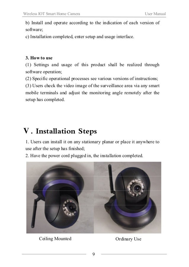 Wireless IOT Smart Home Camera User Manual  Ⅵ.Notes  Installation  If you are new to using it, please read this product in...