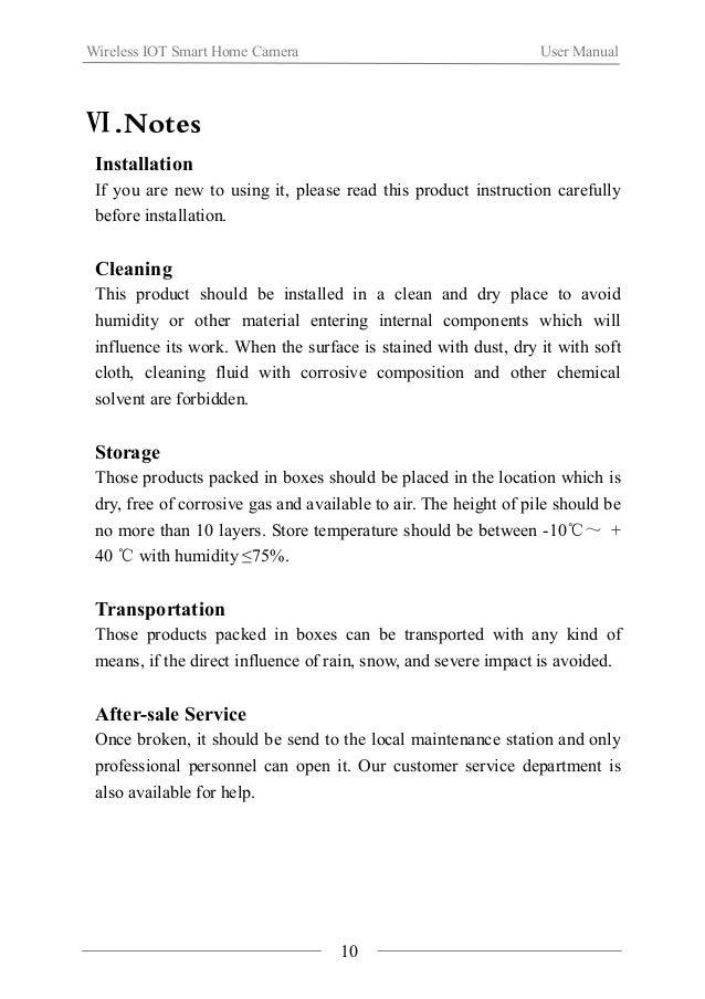 Wireless IOT Smart Home Camera User Manual  Ⅶ.Production Specification  Communication Mode IEEE802.15.4(ZigBee)  Communica...