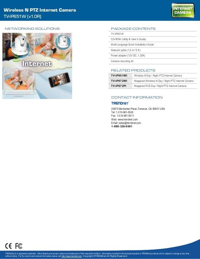 TRENDnet TV-IP651WI v1.0R Internet Camera Windows 8 X64 Treiber