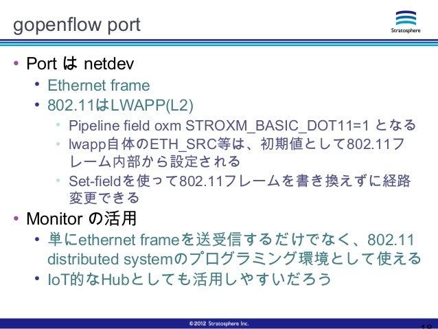 gopenflow port ● Port は netdev ● Ethernet frame ● 802.11はLWAPP(L2) ● Pipeline field oxm STROXM_BASIC_DOT11=1 となる ● lwapp自体...