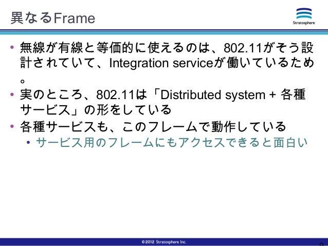 異なるFrame ● 無線が有線と等価的に使えるのは、802.11がそう設 計されていて、Integration serviceが働いているため 。 ● 実のところ、802.11は「Distributed system + 各種 サービス」の形...