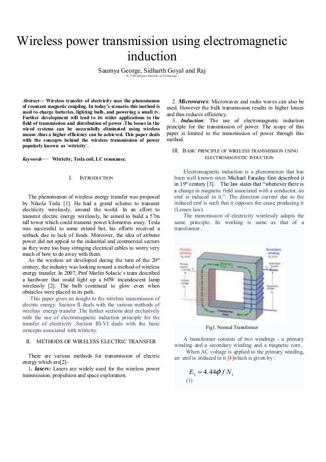 thesis wireless power transmission Wireless power transmission has received significant attention in the past demonstrating efficient rf to dc conversion capability for directive, high-power.