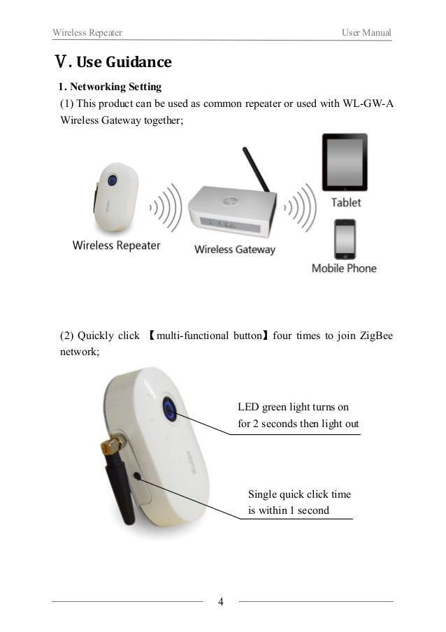 Wireless Repeater User Manual  (3) Quickly click【multi-functional button】once, repeater allows other  equipments to join t...