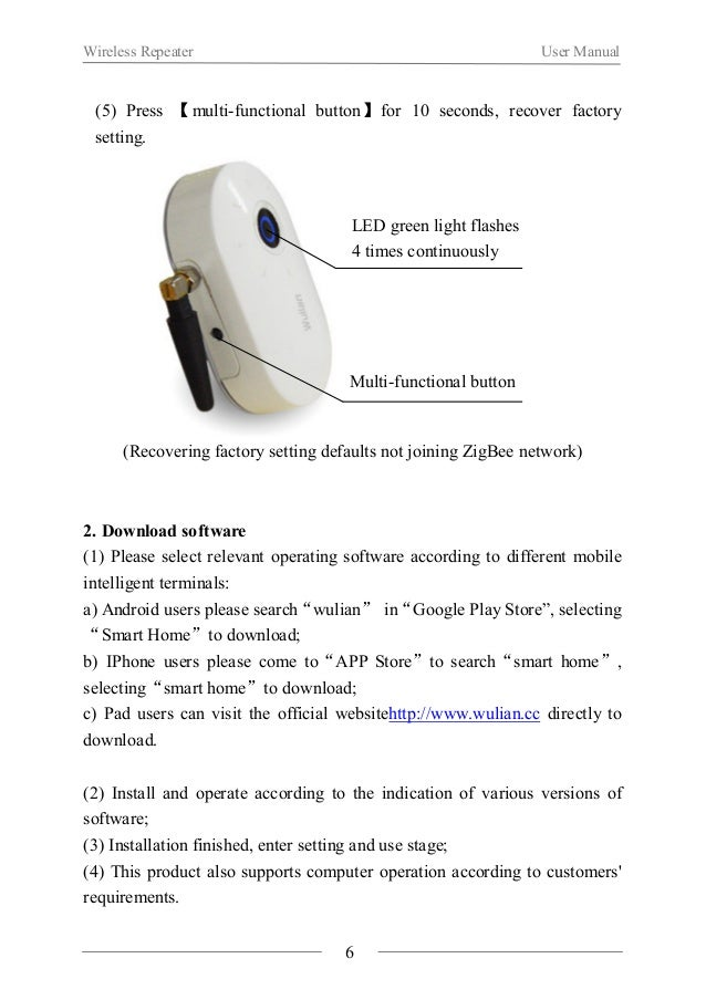 Wireless Repeater User Manual  3. How to use  (1) The setting and use of this product need to be finished through  softwar...
