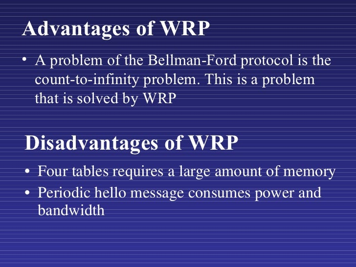 Disadvantages of WRP <ul><li>Four tables requires a large amount of memory </li></ul><ul><li>Periodic hello message consum...