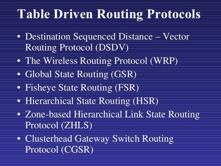 Table Driven Routing Protocols <ul><li>Destination Sequenced Distance – Vector Routing Protocol (DSDV) </li></ul><ul><li>T...