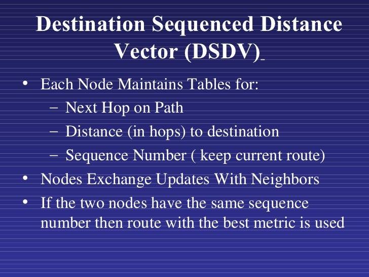 Destination Sequenced Distance Vector (DSDV)   <ul><li>Each Node Maintains Tables for: </li></ul><ul><ul><li>Next Hop on P...