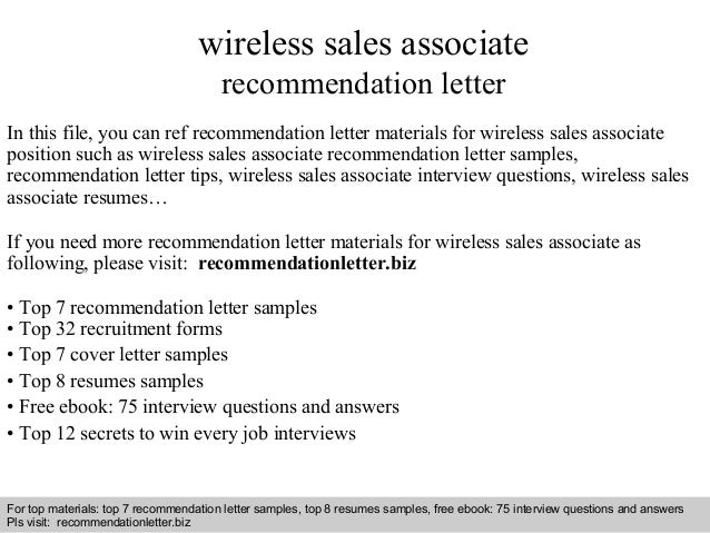 wireless sales associate recommendation letter