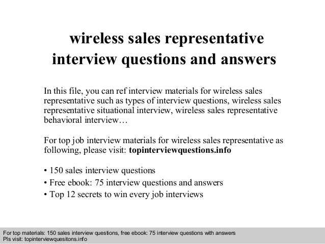 interview questions and answers free download pdf and ppt file wireless sales representative interview - Sample Resume Wireless Sales Representative