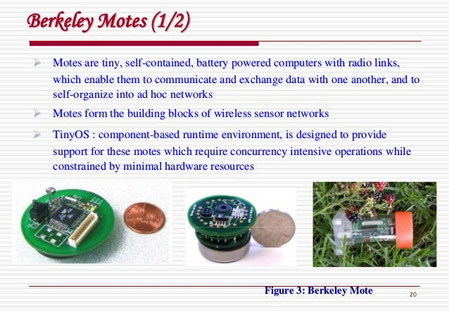 20 Motes are tiny, selfMotes are tiny, self--contained, battery powered computers with radio links,contained, battery powe...