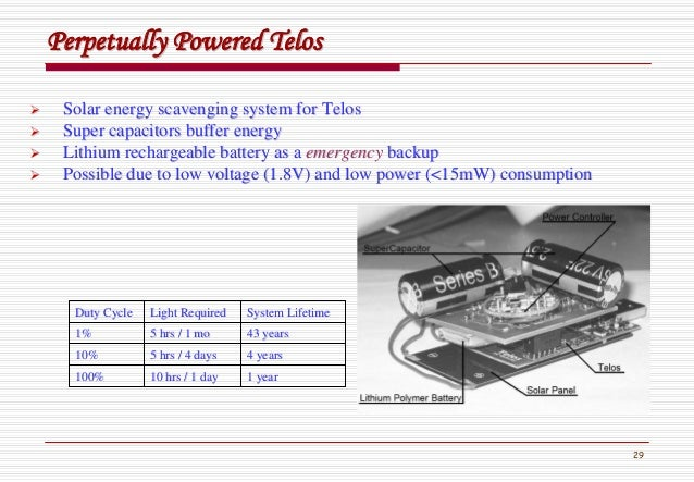 29 Perpetually PoweredPerpetually Powered TelosTelos Solar energy scavenging system for TelosSolar energy scavenging syste...
