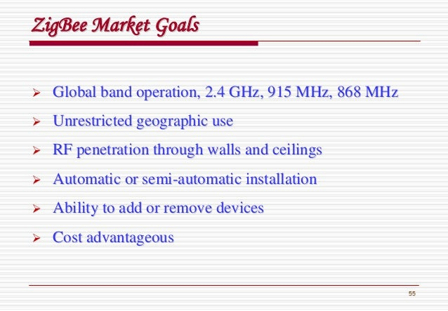 55 ZigBeeZigBee Market GoalsMarket Goals Global band operation, 2.4 GHz, 915 MHz, 868 MHzGlobal band operation, 2.4 GHz, 9...