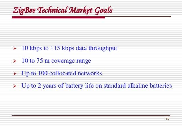 56 ZigBeeZigBee Technical Market GoalsTechnical Market Goals 10 kbps to 115 kbps data throughput10 kbps to 115 kbps data t...