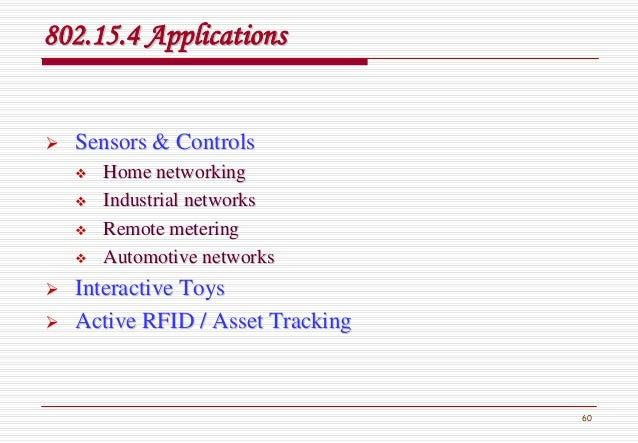 60 802.15.4 Applications802.15.4 Applications Sensors & ControlsSensors & Controls Home networkingHome networking Industri...