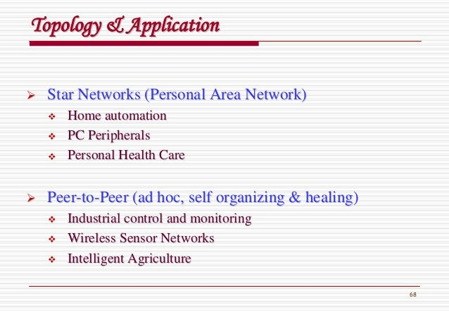 68 Topology & ApplicationTopology & Application Star Networks (Personal Area Network)Star Networks (Personal Area Network)...