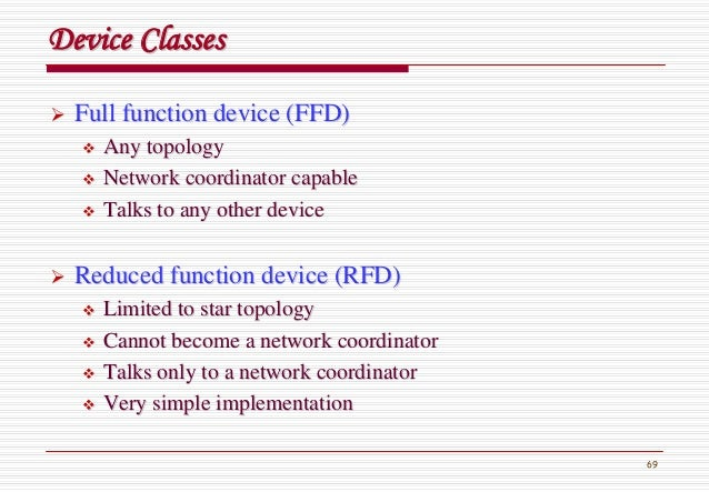 69 Full function device (FFD)Full function device (FFD) Any topologyAny topology Network coordinator capableNetwork coordi...