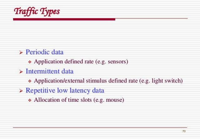 70 Traffic TypesTraffic Types Periodic dataPeriodic data Application defined rate (e.g. sensors)Application defined rate (...