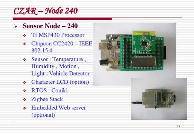 78 CZARCZAR –– Node 240Node 240 Sensor NodeSensor Node –– 240240 TI MSP430 ProcessorTI MSP430 Processor ChipconChipcon CC2...