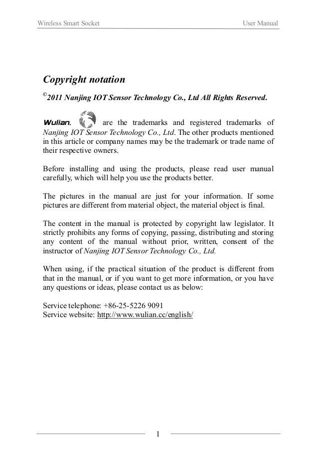 Wireless Smart Socket User Manual  Ⅰ.Product Introduction  WL-ICS-A01 Wireless Smart Socket is a new product based on ZigB...