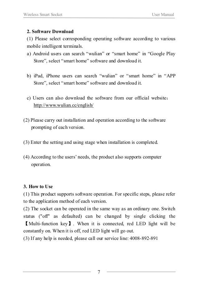Wireless Smart Socket User Manual  Ⅵ.Notes  About the installation  When using the product for the first time, please read...