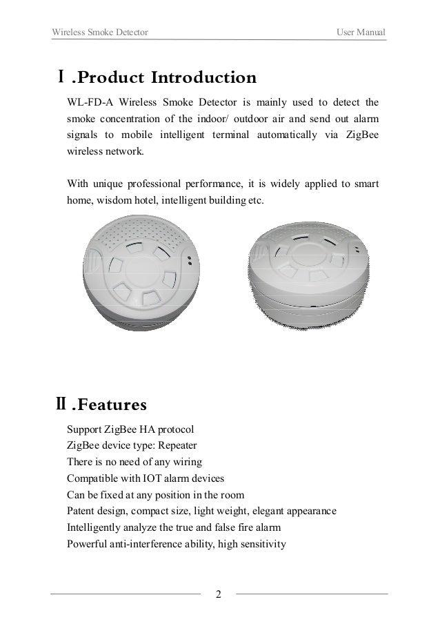 Wireless Smoke Detector User Manual  Ⅲ.Function illustration  Multi-function key Main body  3  Green LED light  Red LED li...