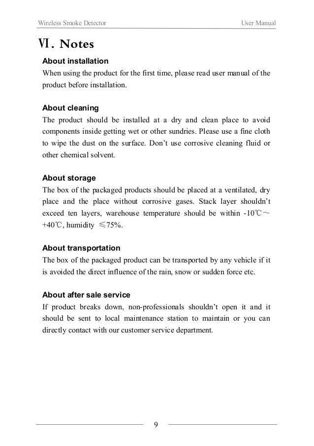 Wireless Smoke Detector User Manual  Ⅶ.Product Specification  10  Weight 120g  Net weight 100g  Color White  Ⅷ.Products in...