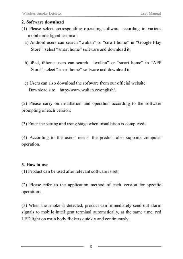 Wireless Smoke Detector User Manual  Ⅵ. Notes  About installation  When using the product for the first time, please read ...