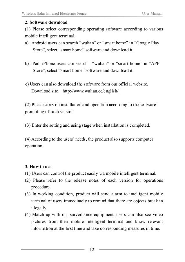 Wireless Solar Infrared Electronic Fence User Manual  Ⅵ. Notes  About the installation  When using the product for the fir...