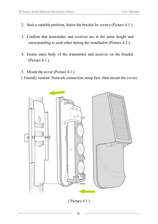 Wireless Solar Infrared Electronic Fence User Manual  ( Picture 4.2 )  Ⅴ. Application Method  1. Network Connection Setup ...