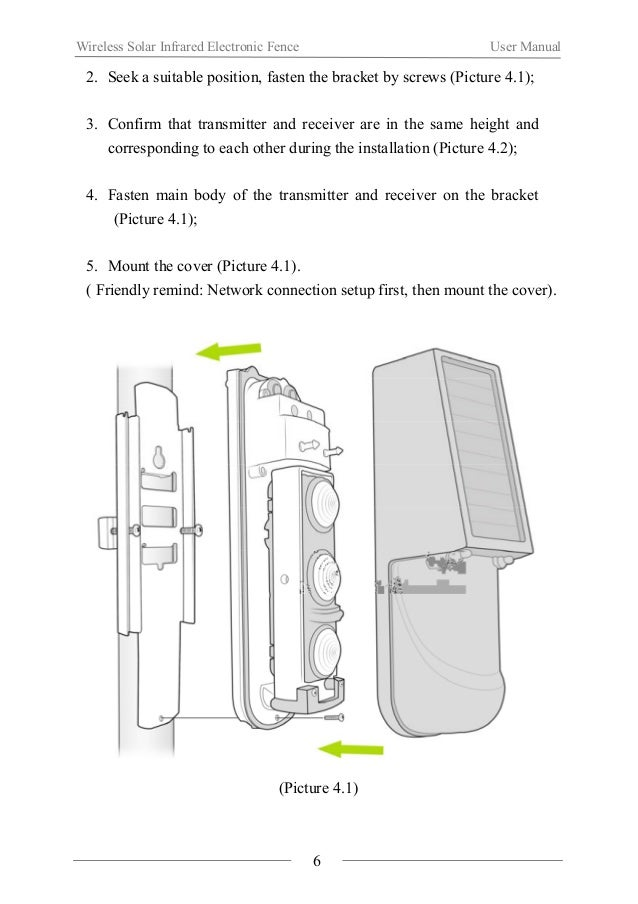 Wireless Solar Infrared Electronic Fence User Manual  (Picture 4.2)  Ⅴ. Application Method  1. Network Connection Setup  (...